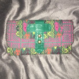 Women's Pink and Green Wallet